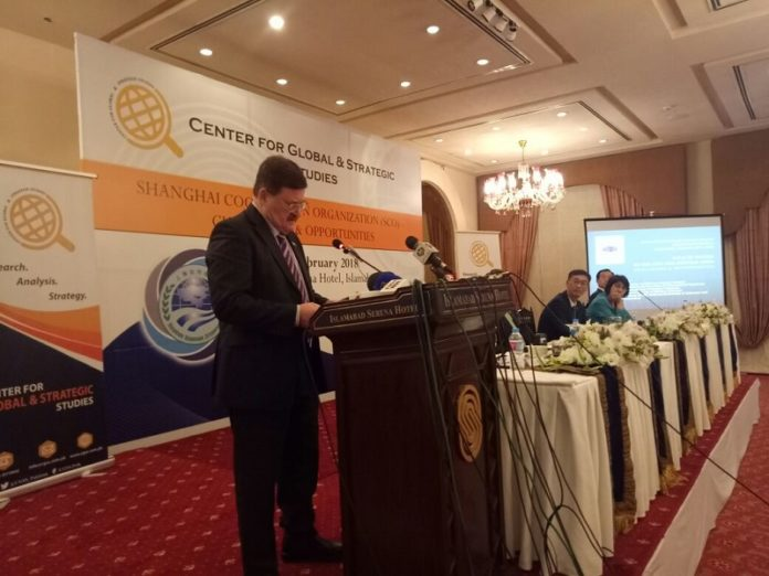 "Vladimir Kozin addressing at a Seminar on ""Shanghai Cooperation Organization (SCO) Challenges and Opportunities in Islamabad."