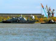 """Уход ракетного катера """"Р-32"""" из Астрахани – 8.10.2013"""