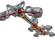 Принцип действия подвески Tatra с качающимися мостами; на рисунке для стандартной колесной схемы 6 х 6 в которой каждая дифференциальная полуось в трубчатом кожухе качается вокруг соответствующей ведущей шестерни